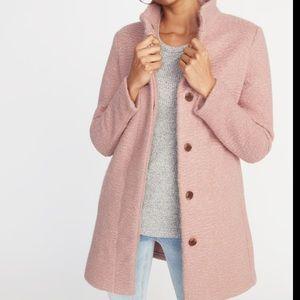 Old navy mock neck boucle jacket, light pink.
